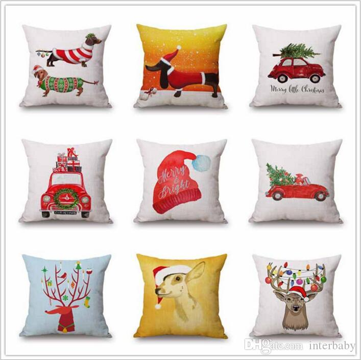 christmas pillows case xmas pillow cover reindeer elk throw cushion cover tree sofa nap cushion covers santa claus home decor 4545cm b2864 christmas - Cheap Christmas Pillows