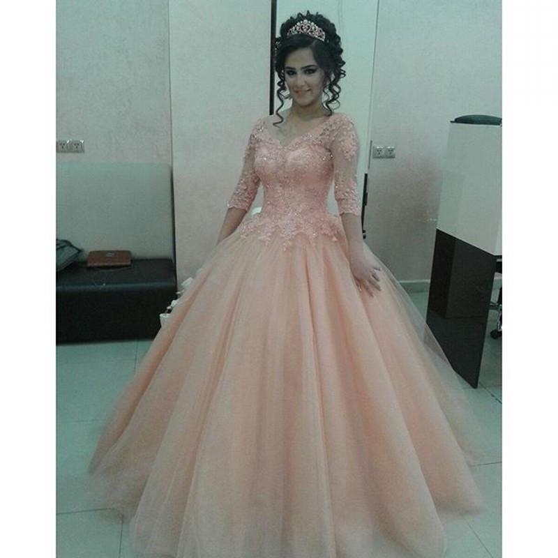Blush Pink 1/2 Long Sleeves Arabic Prom Dresses 2016 Ball Gown ...