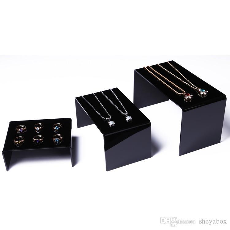 Espositore multiuso gioielli Espositore tavolo in acrilico scaffale di negozio Gioielli Collana Anelli Braccialetti Orologi Esposizione Set di 3 pezzi