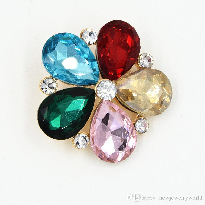 Elegant Multicolor Big Glass Crystals Bling Bling Flower Women Wedding Bouquet Brooch Exquisite Lady Hijab Pin Hot Selling