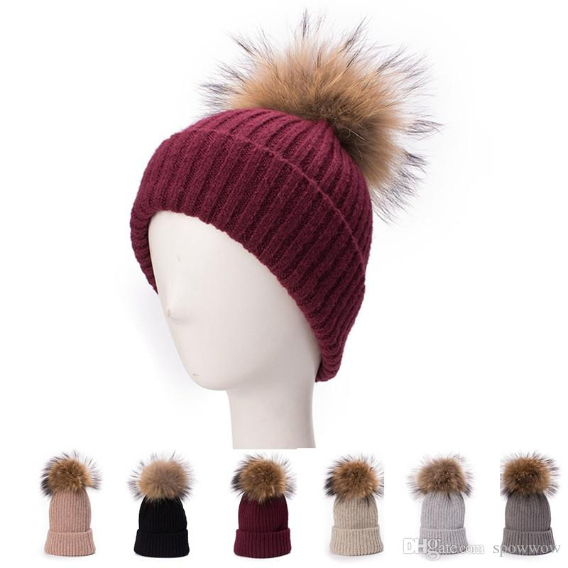 4056f1d44c452 2019 Women Turn Up Knit Wool Blend Beanie Skull Real Fur Pom Pom Bobble  Cable Winter Ski Hat T293 From Spowwow