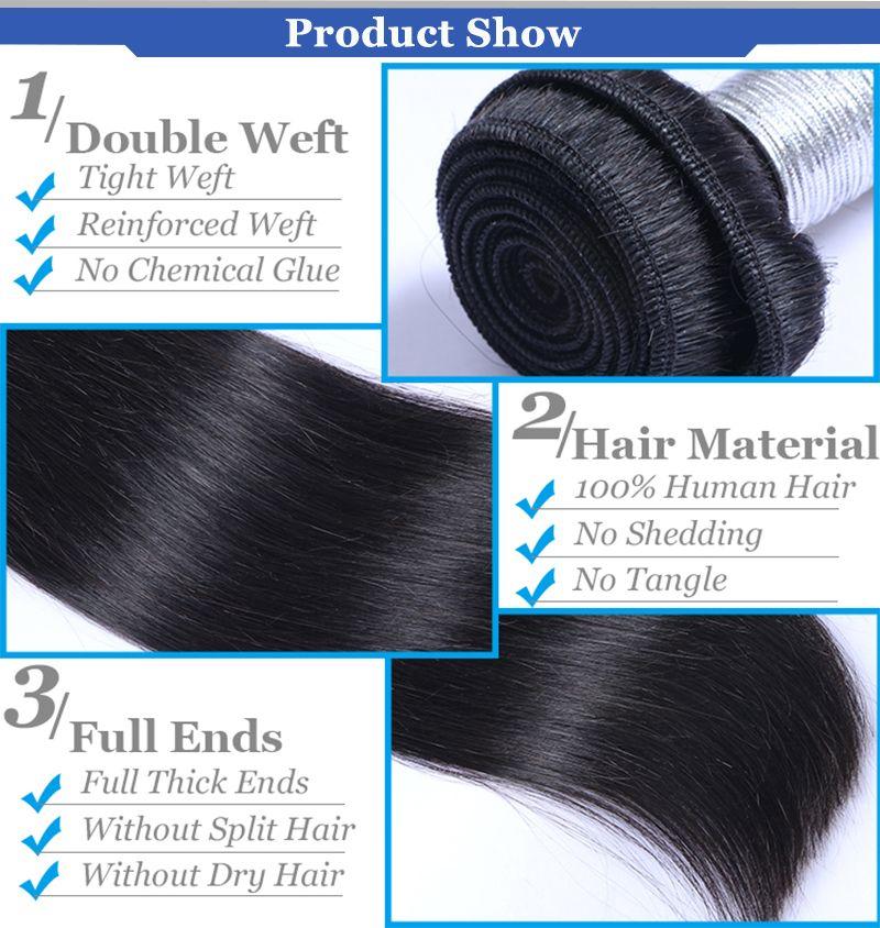Fasci di capelli umani con capelli umani brasiliani di Remy diritti anteriori e di chiusura dei capelli vergini diritti afroamericani delle donne nere