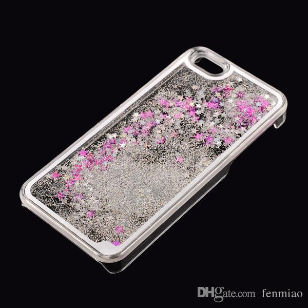 لجهاز Galaxy S7 Iphone 6S كفر أيفون SE شفاف شفاف كفر Floating Glitter Star Quicksand Dynamic Hard Case