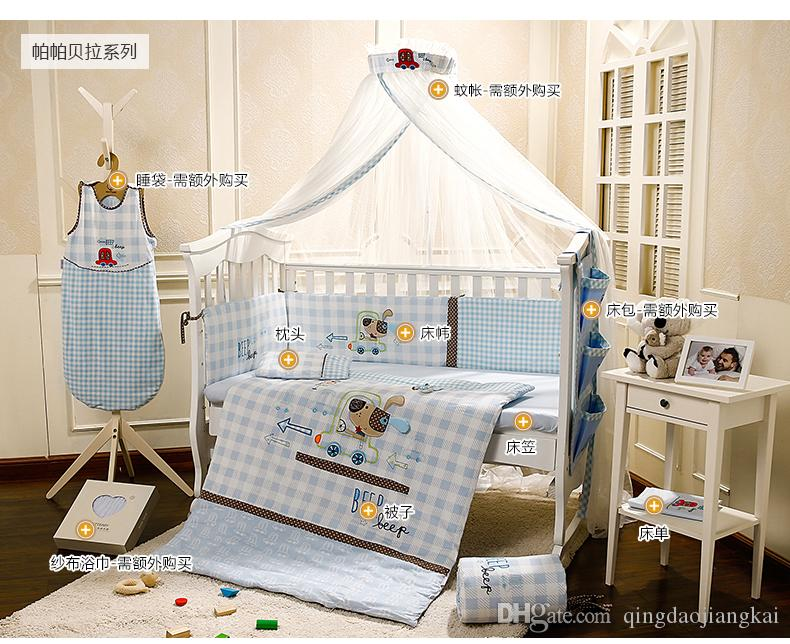 baby bed set for crib 100 cotton embroidery light blue cartoon dog rh dhgate com