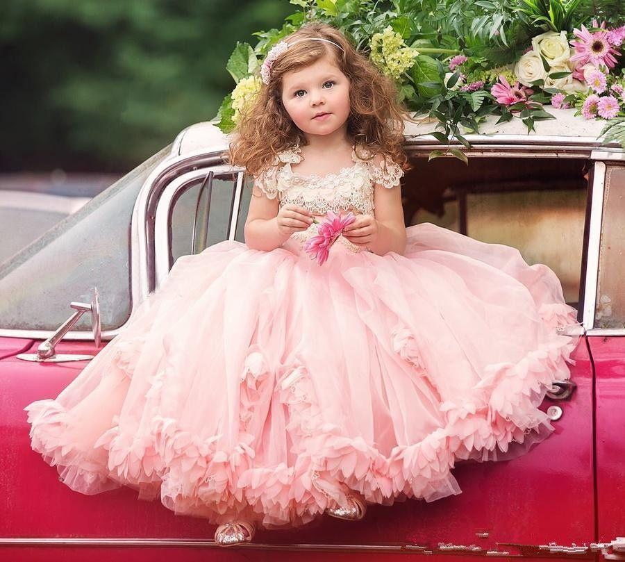 Blush Girls Party Dress Flower Girl Dress Cap Sleeve Flower Girl Dress Toddler Girls Dress Birthday Party Dress Floor Length Dress Lace