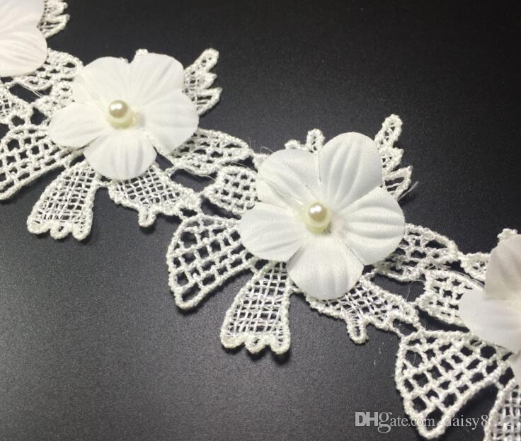15Yard Flower Plum Pearl Cotton Lace Fabric Trim Ribbon For Apparel Sewing DIY Bridal wedding Doll Cap Hair clip