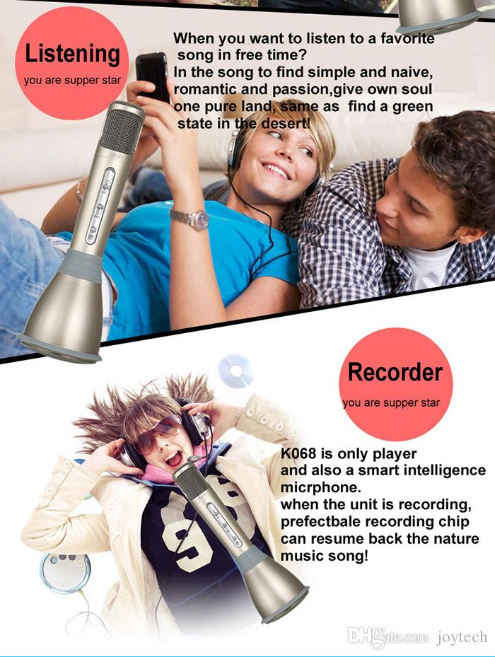Top quality K068 Microphone Wireless bluetooth Microphone with Mic Speaker Condenser Mini Karaoke Player KTV Singing Record for mobile phone