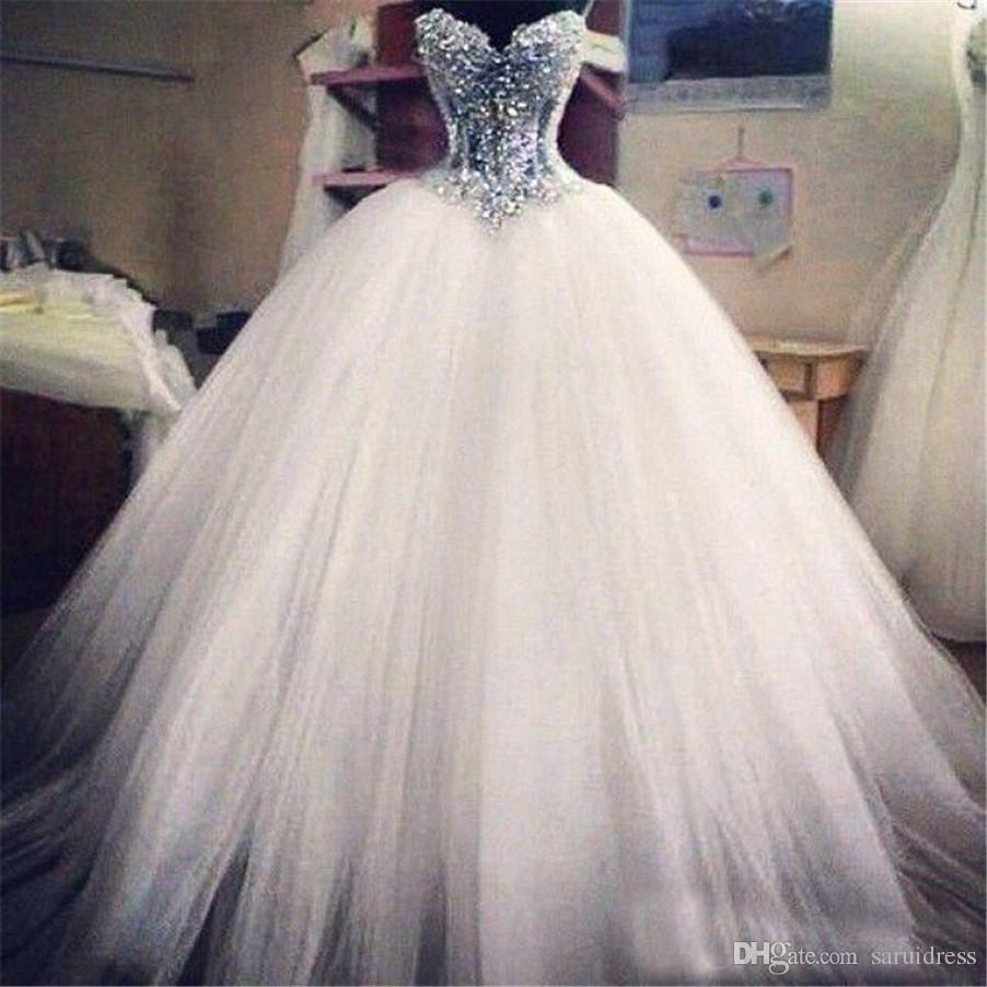 Novia del corsé ver a través de la longitud del piso de los vestidos de la princesa boda Vestidos de novia con cuentas vestido de bola del cordón de las perlas por encargo