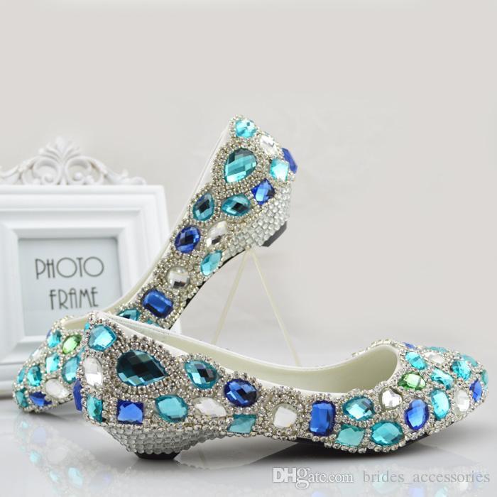 3896c83c5954 Blue Rhinestones Wedding Shoes For Bride Bridal Pumps 2.5cm 6cm Low Heel  Comfortable Wedding Shoes For Bride Flats US5 US9 Beaded Shoe Flat Bridal  Shoes ...