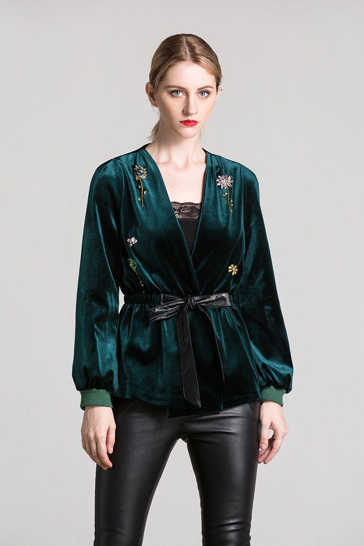 Chegada Nova 2019 de outono Mulheres V Sexy Neck mangas compridas frisada Lace Up Moda cinto de veludo Blusa Jackets