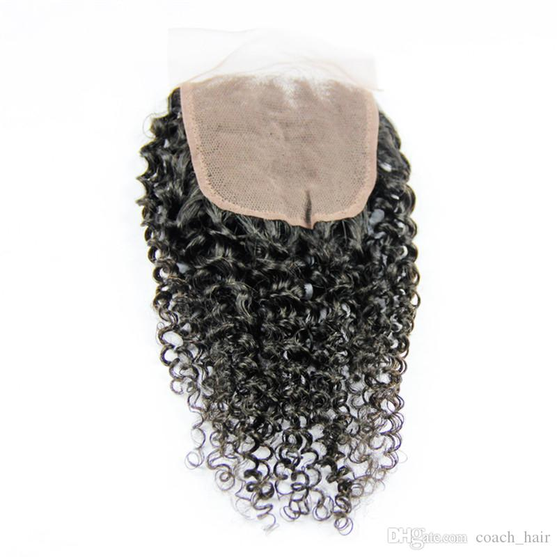 Brazilian Kinky Curly 3Bundles With Closure Free Middle Or Three Part Natural Color Virgin Human Hair Weaves Curly With Lace Closure 4X4Inch