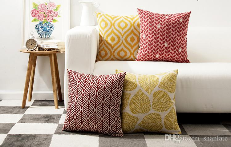 elegant yellow red leaves waterdrops pattern linen cushion cover rh dhgate com