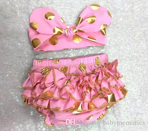 girls gold polka dot shorts baby bloomers + headbands set childrens ruffled shorts kids cotton underwear girl boutique short pants wholesale