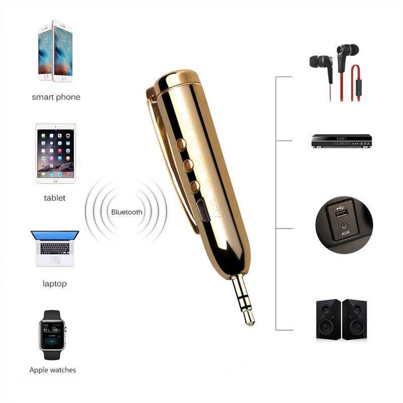 Pour iPhone X XS Max Sans fil Bluetooth Audio AUX Adaptateur Récepteur Stylo avec Jack 3.5mm Mini Kit mains libres Clip-on Samsung S9