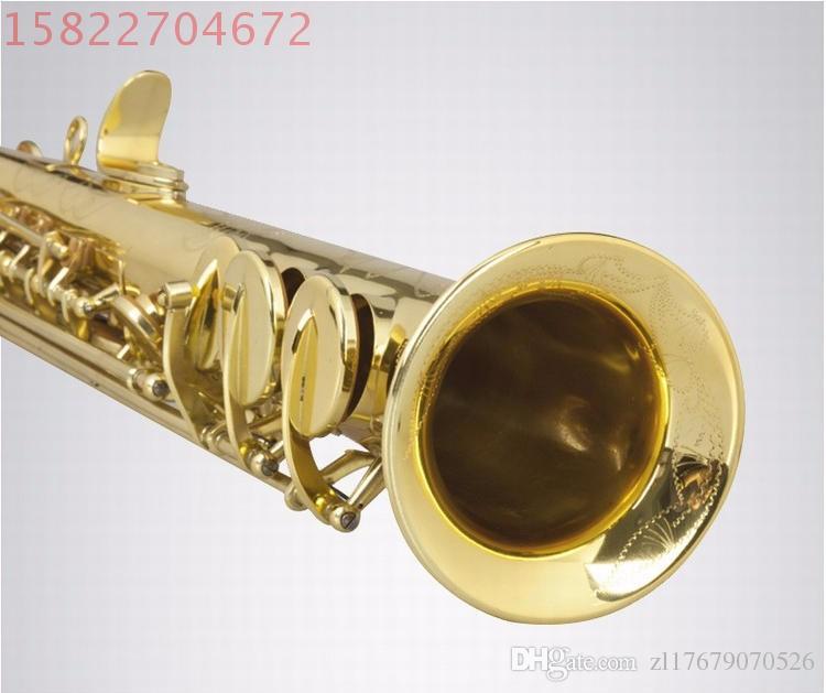 Sassofono Soprano di alta qualità / vento Strumenti musicali Top B flat one sax Chiave G Goid Lacquer Spedizione UPS / DHL