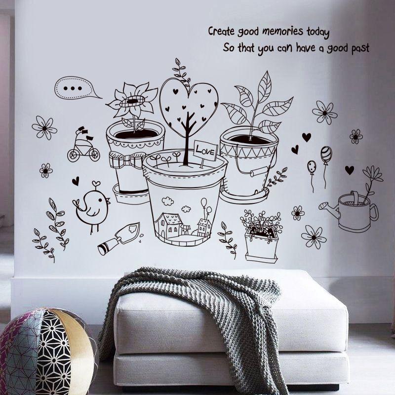 90x 61cm Colorful Flower Flowerpot Wall Sticker
