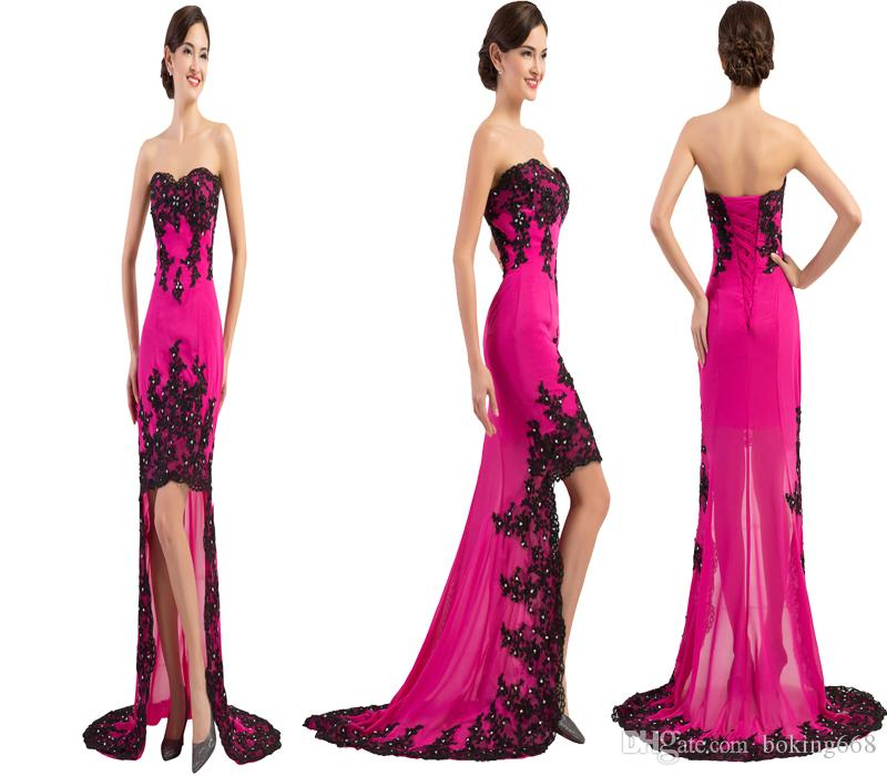 charming black red Lace appliques Long Hilo Prom Dresses 2020 cheap short front long back prom gown dress sweetheart Mermaid dress