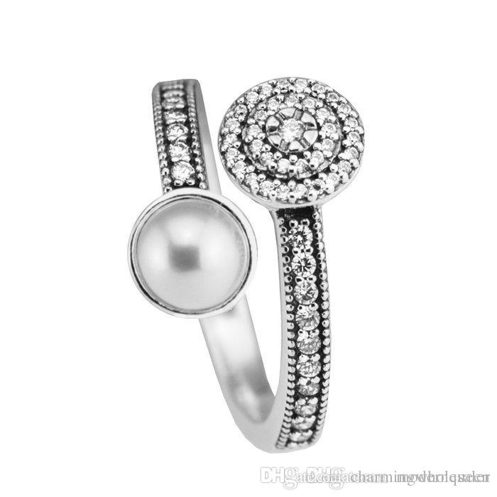 Pearl rings Fits For Women Pandora Style S925 Sterling Silver Free Shipping Luminous Glow Ring h9