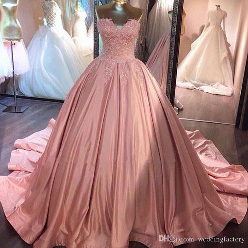 2017 Fashion Colored Blush Pink Ball Gown Wedding Dresses Sweetheart ...