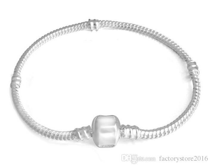 مصنع الجملة 925 فضة أساور 3 ملليمتر ثعبان سلسلة صالح باندورا سحر الخرزة الإسورة سوار مجوهرات هدية للرجال النساء