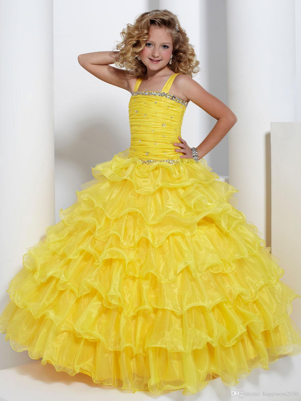 Bright Yellow Layers Organza Beads Flower Girl Dress Girls Pageant