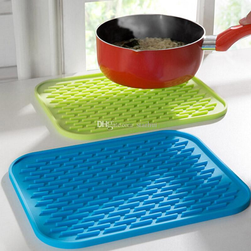 29.5*23.5CM Silicone Dish Drying Mat Square anti-skid Pad Kitchen Cup Pot Bowl Plate Table Mats High Quality Heat Resistant Silicone WX-C59