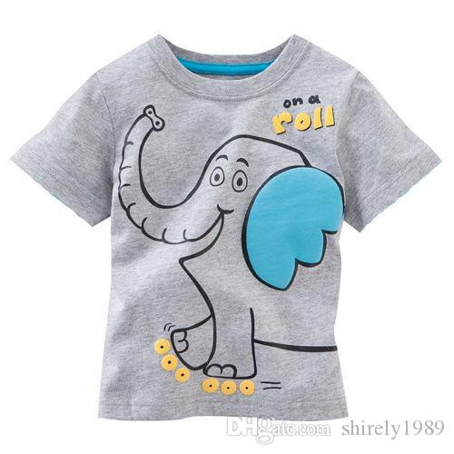 2018 brand new cartoon elepaht printed baby boys t shirts for Kids t shirt printing