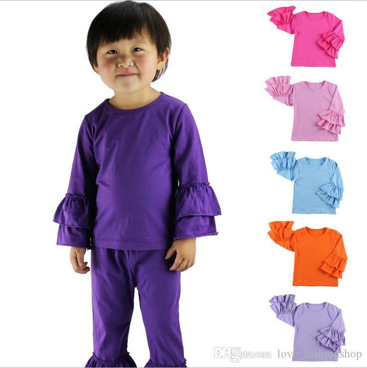 14 ألوان طفل الفتيات الأزياء كشكش القمصان الفتيات قمم طويلة الأكمام فتاة اللباس تي شيرت الأطفال ملابس الاطفال الملابس
