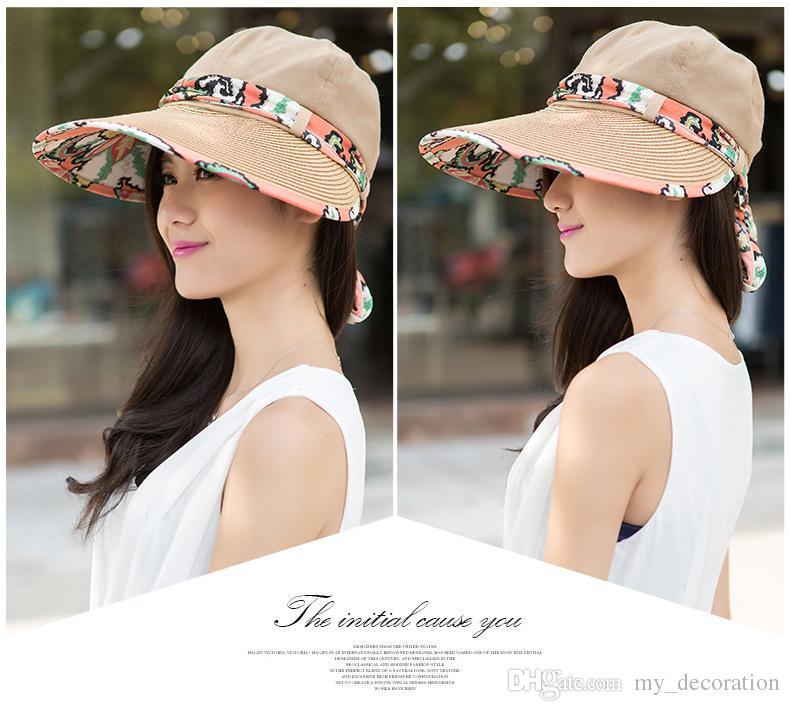 Femmes Herbe Braid Sunhat Large Bronge Protection UV Cap Lady Baseball Golf Sports Sports Hats Summer Herbe Extérieur Braid Design Chapeau 5 couleurs
