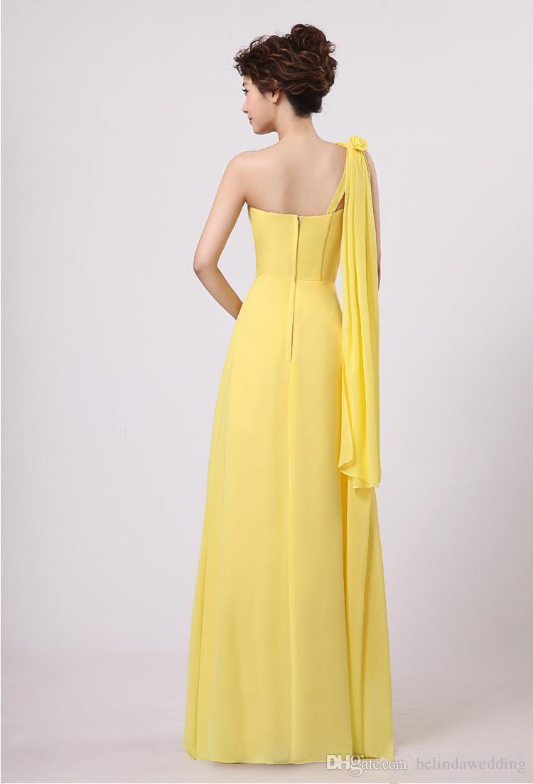 New Wedding Bridesmaid Party Formal Long Cocktail One Shoulder Chiffon Dress Red Purple Yellow Plus Size Under 50