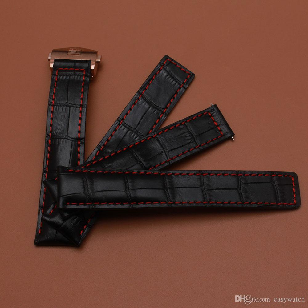 Black Watchband genuine Cowhide leather Watch strap crocodile grain with red line fashion watch accessories 20mm 22mm rosegold buckle new