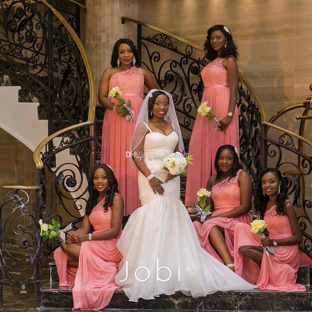 2016 Новый элегантный одно плечо кружево длинные платья для подружки невесты 2016 Sashes Shashes Передние Свадебные платья