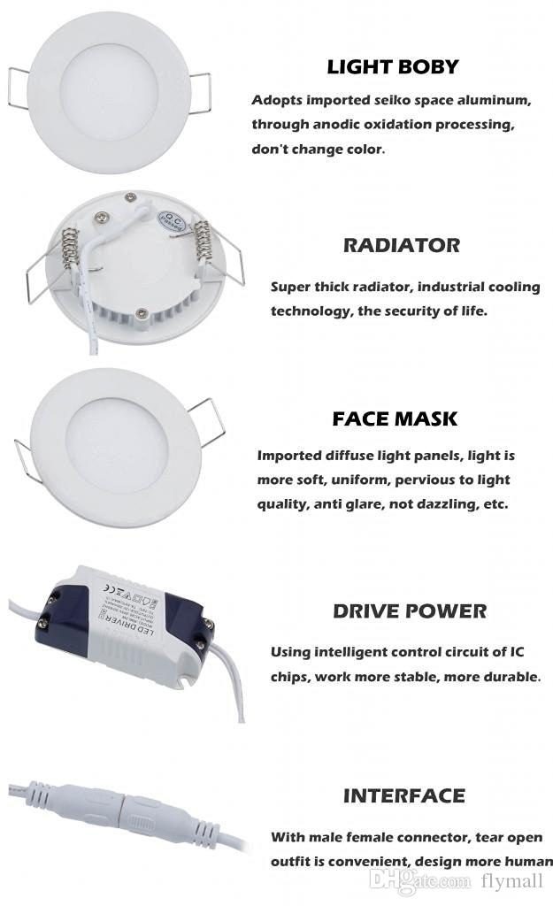 Dimmable 6W / 9W / 12W / 15W / 18W / 24W Led Empotrables Downlights Lámpara Cálida / Natural / Cool White Super-Thin Led Luces de Panel Redondas / Cuadradas 110-240V