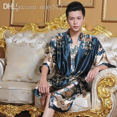 2018 Wholesale 2016 Faux Silk Mens Robe Dressing Gown For Man ...