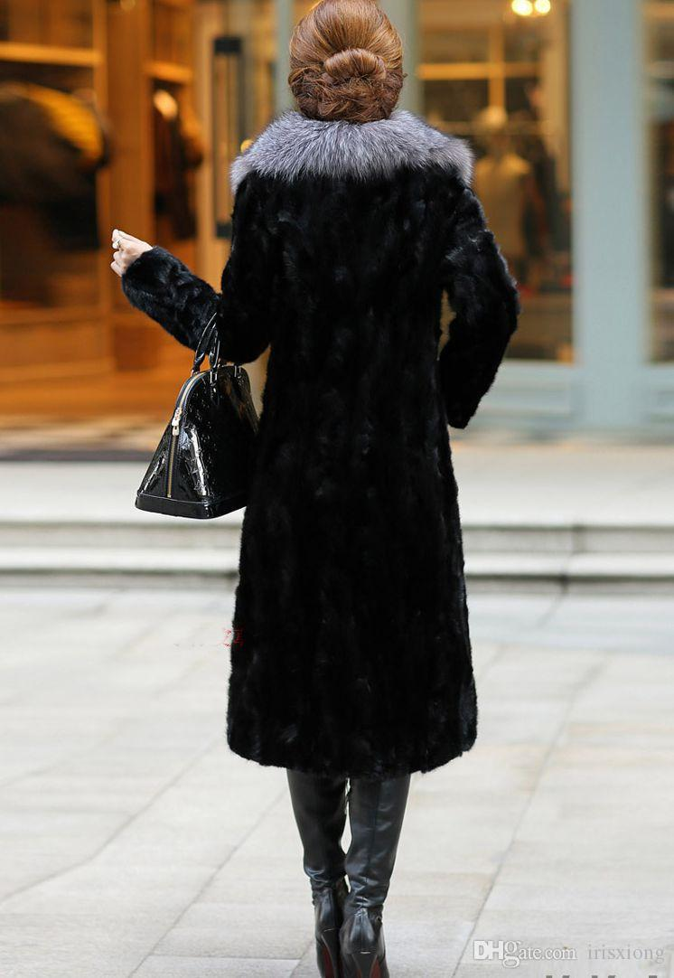 Fashion Fur Women Winter Long New Large Large Coat Black Fox Fur Jacket Jacket Jacket Plus Size S-XXXL