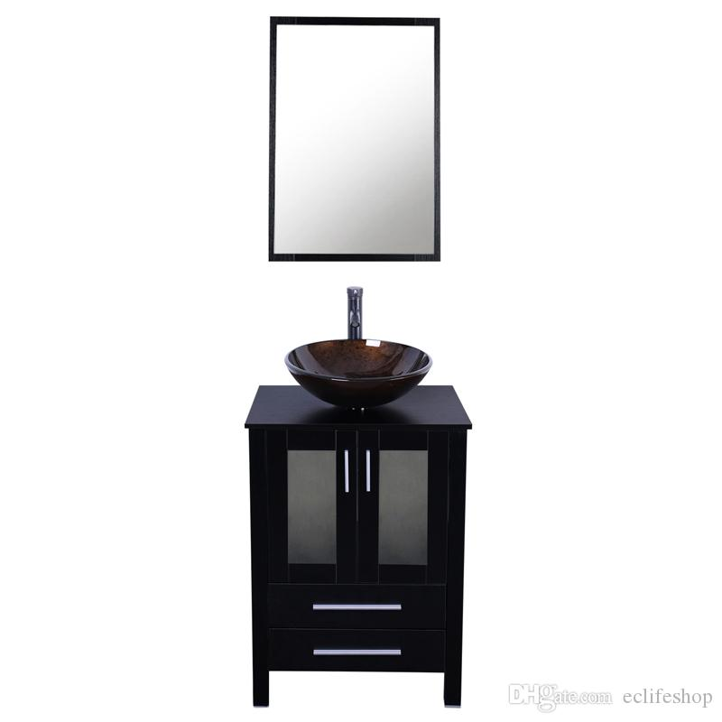 2017 24 Inch Bathroom Vanity Combo Modern Mdf Cabinet With Vanity Mirror  Tempered Glass Counter Top Vessel Sink With 1.5 Gpm Faucet And Drain From