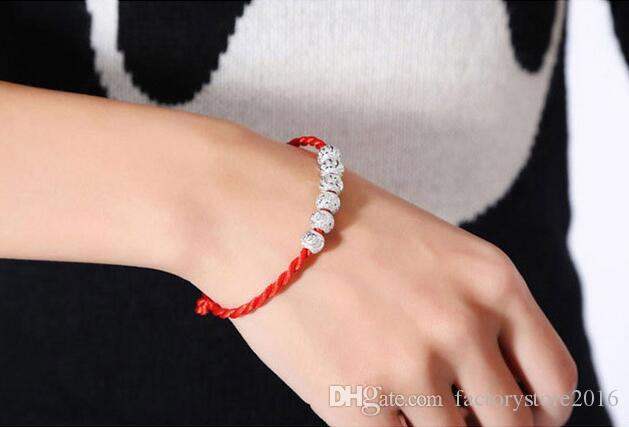 Red String Chain Bracelet mit 925 Sterling Silber Good Luck Beads Vintage Charm Lucky Love Beads Armbänder Schmuck Großhandel