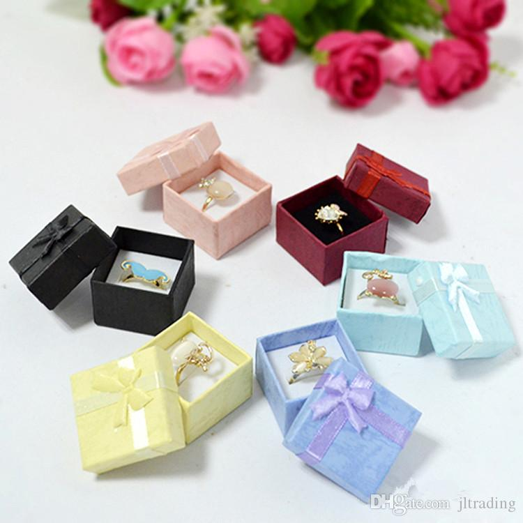 mixed colors cheap price silver jewelry rings earring stud paper boxes gift package small ring box wholesale