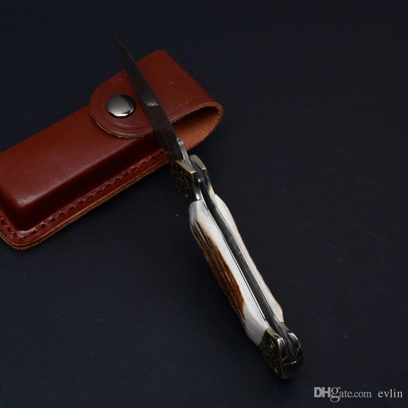 2017 Nouveau Damas Survival Couteau Pliant Antler Poignée EDC Couteau De Poche En Plein Air Survie Couteaux De Noël Cadeau