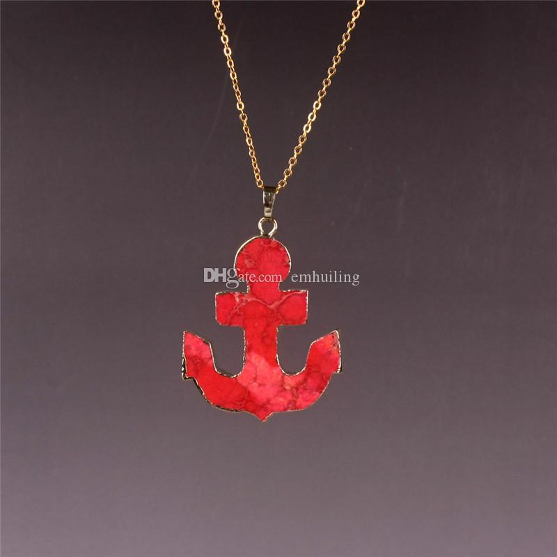 Sparkling Friendship Protection Large Anchor Gold Plated Pendant Necklace Fashion Sweater Necklace Crystal For Women Mens Jewelry