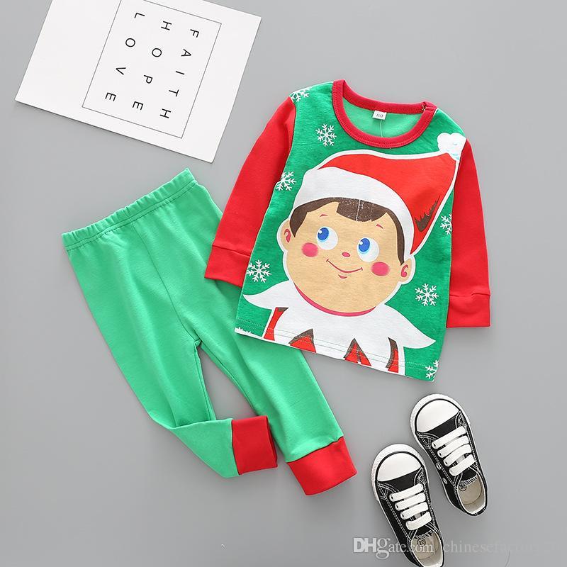 Christmas Baby Clothes Kids Xmas Elk Pajamas Sets Striped Santa Claus Suits Cotton Tops Pants Outfits Cartoon Long Sleeve Clothing