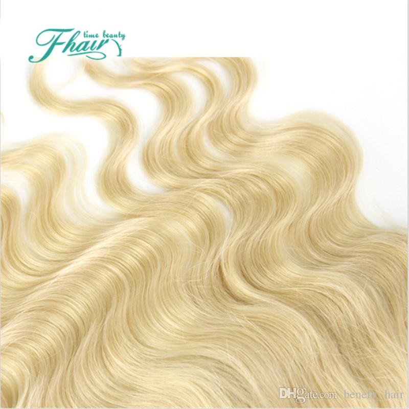 Модные Товары #613 Блондинка Кружева Фронтальная Закрытие Body Wave 13*4 Бразильские Волосы 613# Отбеленный Узел Швейцарский Кружева Фронтальная Закрытие
