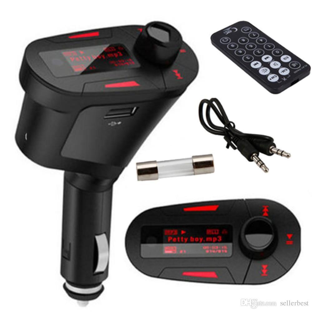 Retroiluminación del color rojo del coche Reproductor de MP3 Transmisor inalámbrico de FM con USB para ranura de tarjeta SD MMC Envío de la gota al por mayor