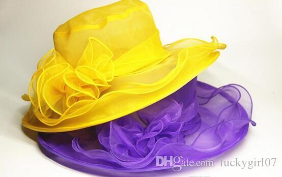 Sun summer hats for women top quality 2016 newl womens Organza Hat Kentucky Derby Wedding Church Party Floral Hat wide brim