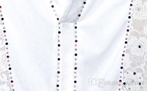 Camisas de baile latino Mono de encaje Hombres Boy Latina MEJOR CAD088 Adultos Niños camisa de baile Top Romper Blanco Negro Rhinestones de manga larga