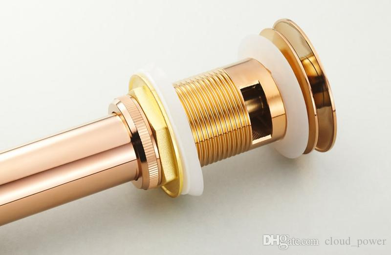 Deodorization Push Down Pop-Up Overflow/Non-overflow Drains with Brass ,Rose Gold Bsain Faucets Accessories Household Cleaning Drains