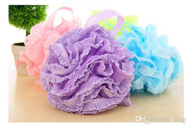 .High Quality Lace Mesh Pouf Sponge Bathing Spa Handle Body Shower Scrubber Ball Colorful Bath Brushes Sponges DDG3