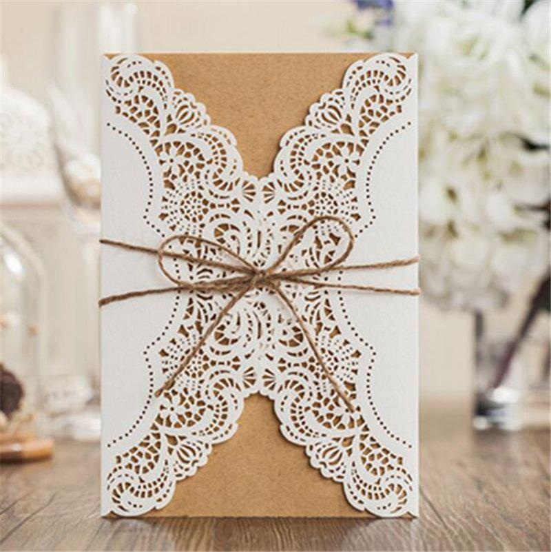 Online cheap lace inviting card laser cut paper envelope event party see larger image stopboris Gallery