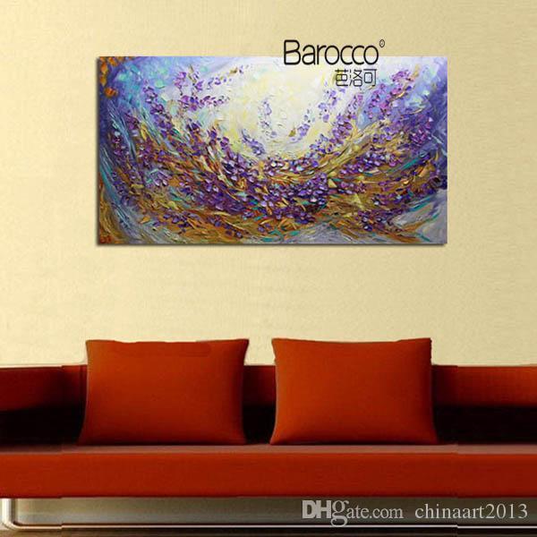 100% peint à la main peinture à l'huile sur toile fleurs violettes moderne abstrait peintures mur art décoration pour la maison ou bureau