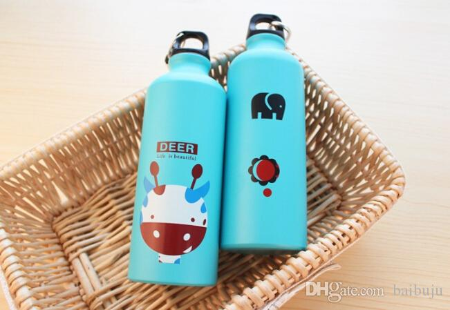 Outdoor Portable Sports Bicycle Water bottle Lovely Animal Aluminum Alloy camping hiking water bottle